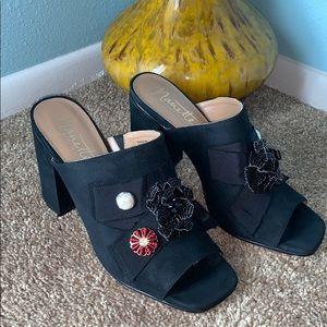 Nanette Lepore Size 10 Marsha Black Peep Toe Heels